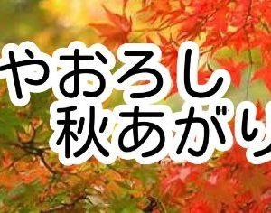 「秋あがり」「ひやおろし」続々入荷中!